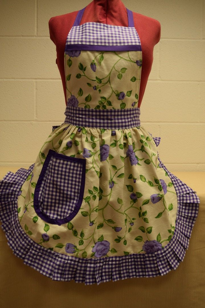 Retro Vintage 50s Style Full Apron / Pinny - Cream with Purple Roses & Purple and White Gingham Trim by FabriqueCreations on Etsy