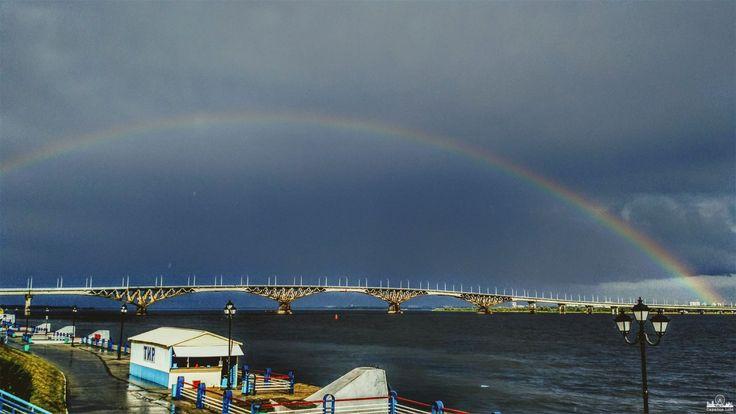 Радужный мост над мостом Саратов - Энгельс Фото Никита Волков      #Саратов #СаратовLife