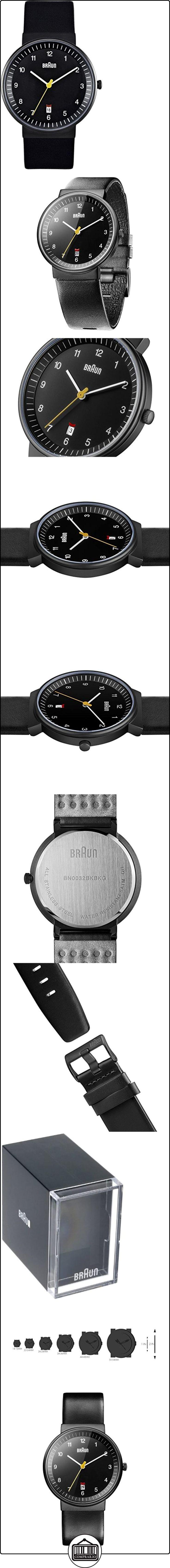Braun BN0032BKBKG - Reloj analógico de caballero de cuarzo con correa de piel negra  ✿ Relojes para hombre - (Gama media/alta) ✿
