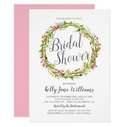 Watercolor Wreath Boho Chic Bridal Shower Card - chic design idea diy elegant beautiful stylish modern exclusive trendy