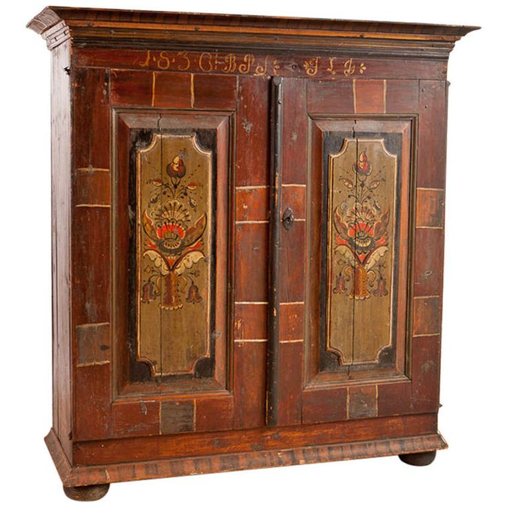 Early 19th Century Scandinavian Painted Armoire, Painting dated 1836 | From a unique collection of antique and modern wardrobes and armoires at https://www.1stdibs.com/furniture/storage-case-pieces/wardrobes-armoires/