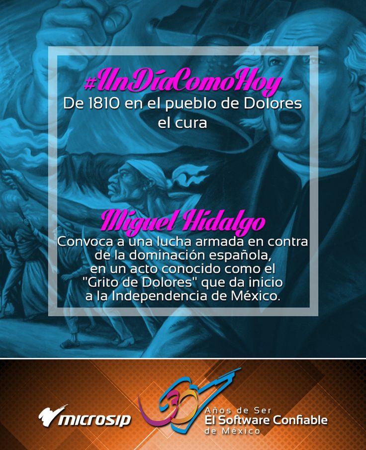 """#UnDíaComoHoy pero de 1810, en el pueblo de Dolores, el cura Miguel Hidalgo convoca a una lucha armada en contra de la dominación española, en un acto conocido como el """"Grito de Dolores"""" que da inicio a la Independencia de México."""