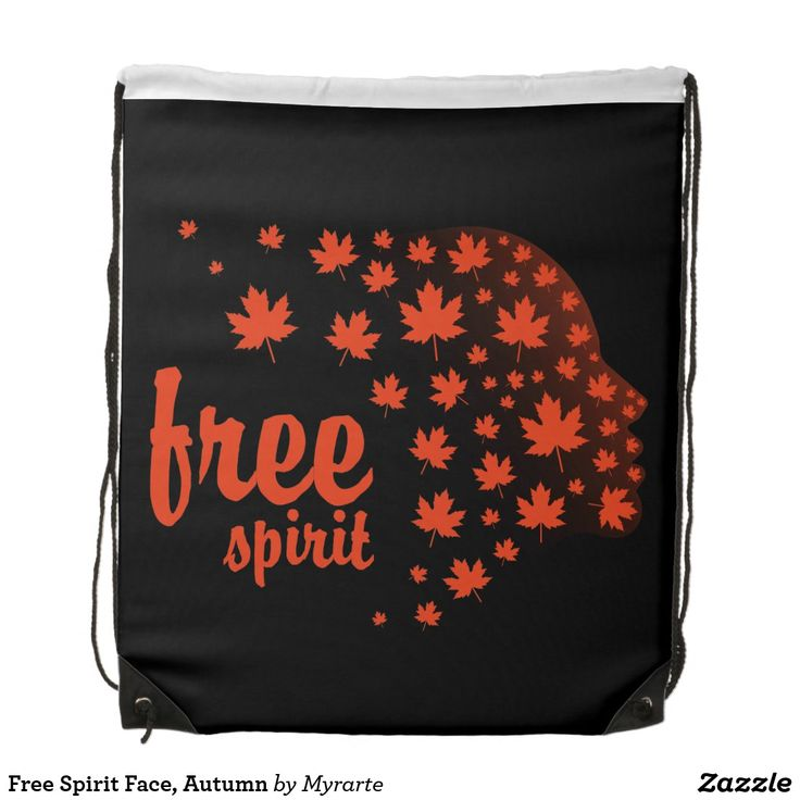Free Spirit Face, Autumn Drawstring Backpack. Producto disponible en tienda Zazzle. Accesorios, moda. Product available in Zazzle store. Fashion Accessories. Regalos, Gifts. #mochila #backpack