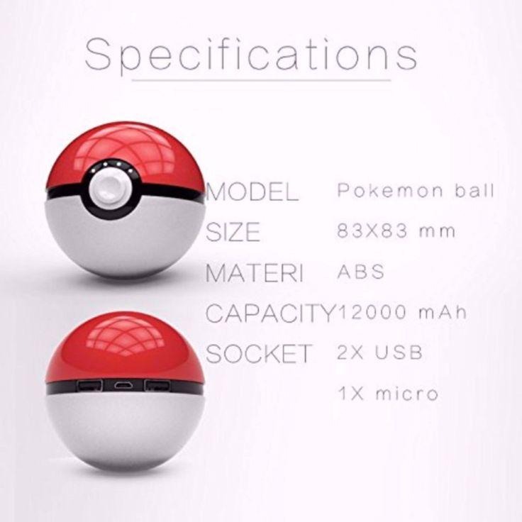 Pokemon Go Pokeball 12000mAh Power Banks Dual USB Port Charger Game Banks With LED Light USB Cable