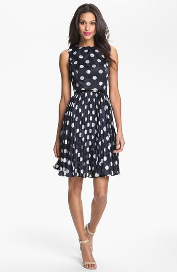 Adrianna Papell Burnout Polka Dot Fit & Flare Dress | Nordstrom