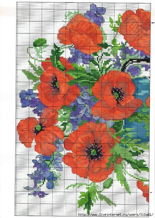 Cross-stitch Poppies in a Vase, part 1... color chart on part 2 ...