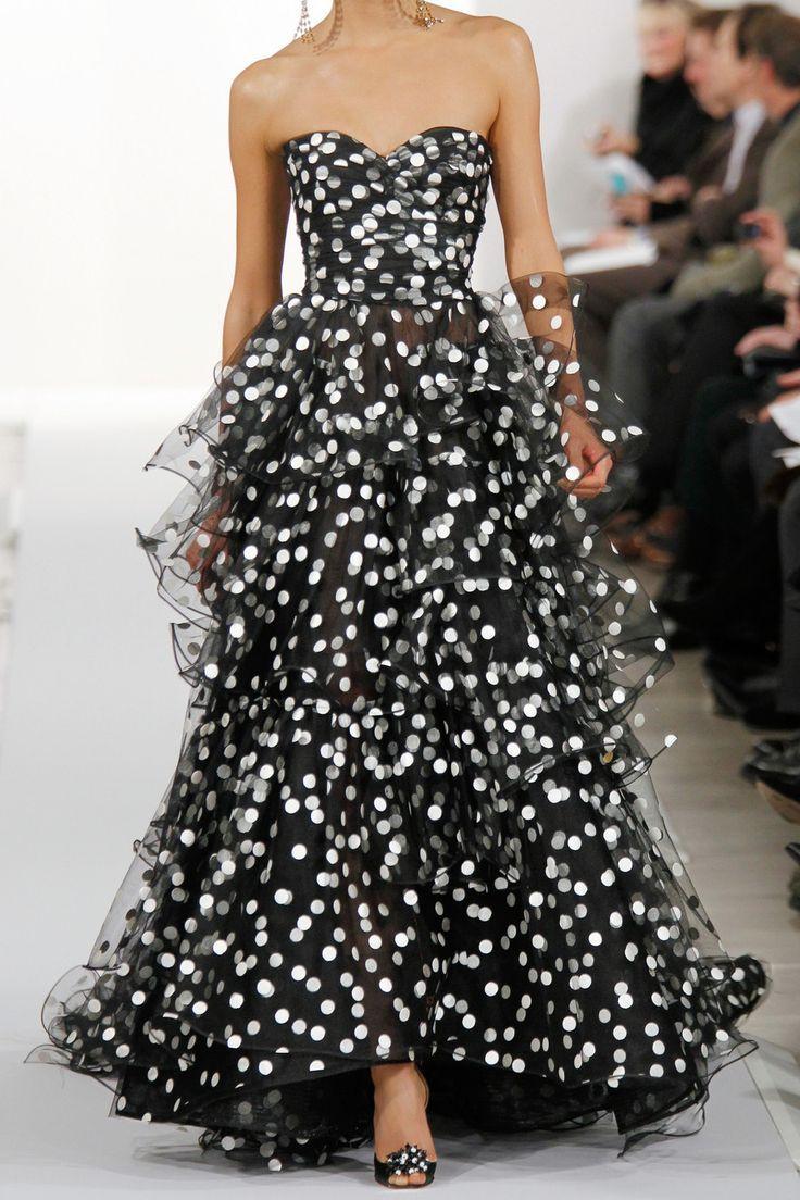 Black and white polka dot chiffon A-line dress with a modified skirt