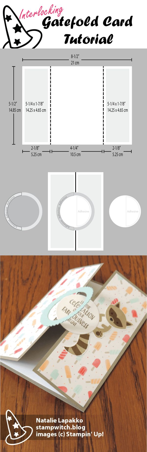 Interlocking gatefold carte tutoriel par Natalie Lapakko avec Foxy Amis timbres et Tasty Treats DSP de Stampin 'Up!