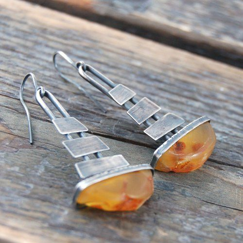 Earrings | M Studio Designs.  Silver and amber.  love the unusual setting, adore these