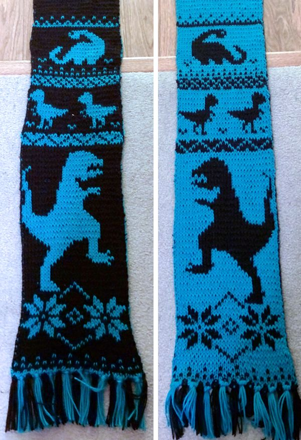 Free Knitting Pattern for Dinosaur Scarf - Scarf with ...