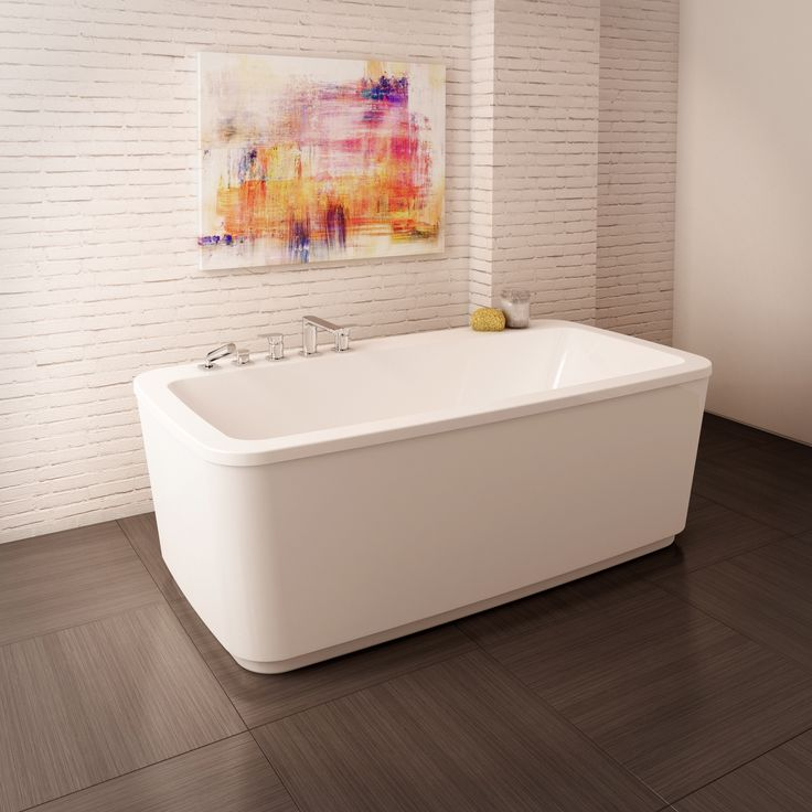freestanding tub with faucet deck. the inova - 66\u0027\u0027 x 34\u0027\u0027 acrylic freestanding bathtub. features soft lines and a wide back ledge for storage. can accomodate 4 piece deckmount fau\u2026 tub with faucet deck