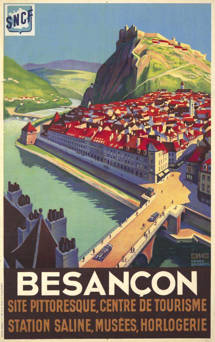 Vintage Railway Poster, Besançon.- France, ca. 1930