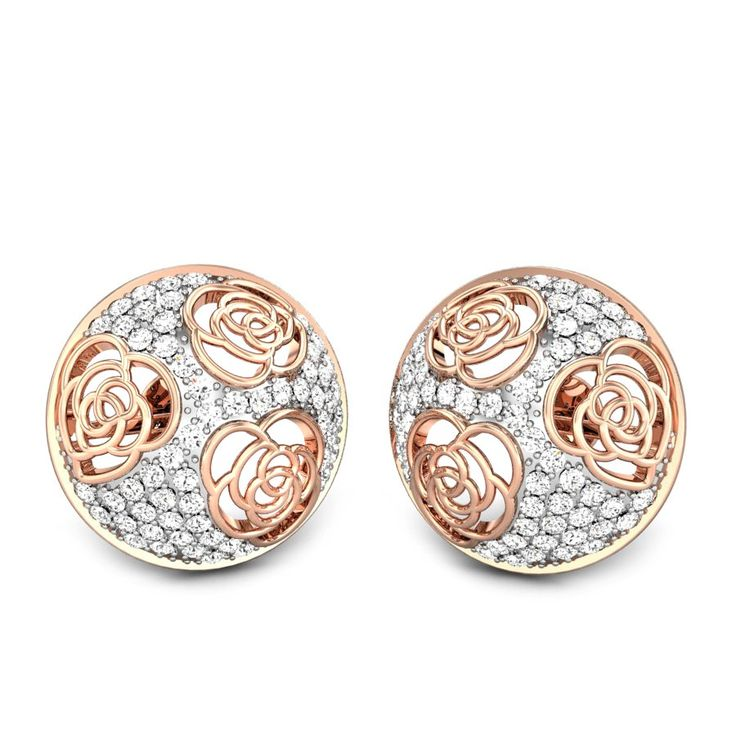 Earrings with diamonds and rose metal meshed to form an earring. #Gold #Diamonds…