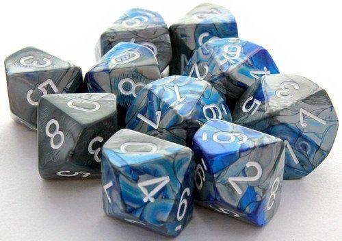Gemini Dice (Blue and Steel); 10 X D10 Dice Set