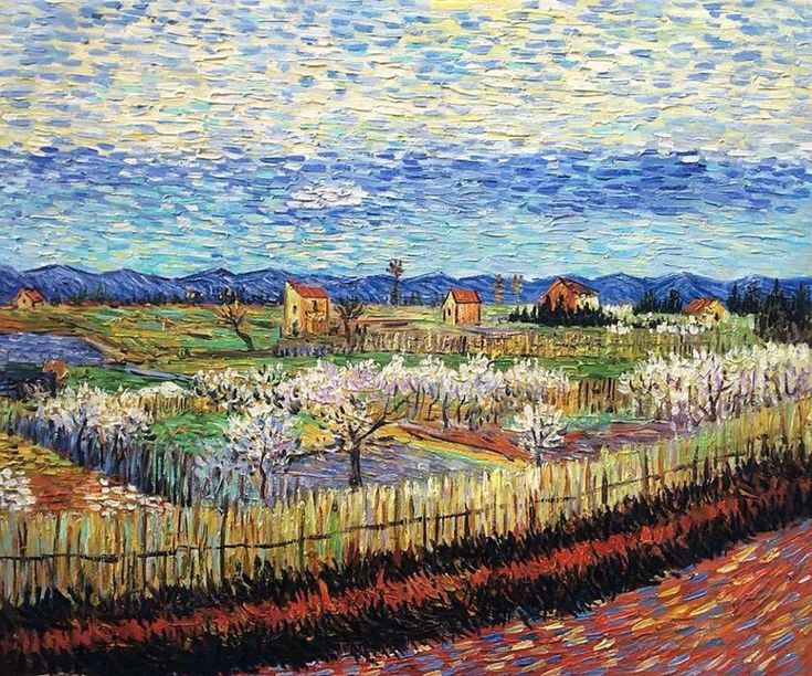 "Vincent Van Gogh. ""Peach Trees in Blossom"" 1886"