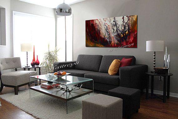 Decoracion De La Pared Del Arte Pintura De Espatula De Pared Rojo Contemporaneo Home D Living Room Grey Small Apartment Living Room Modern Grey Living Room