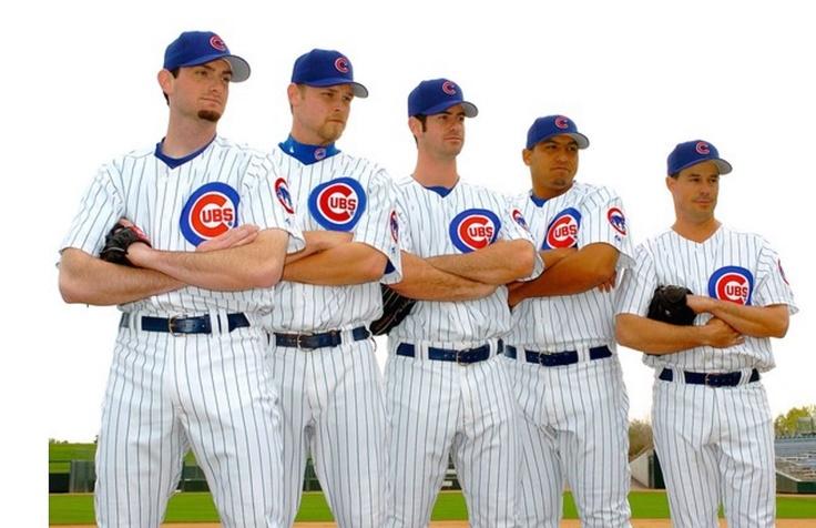 2004 starting rotation: Matt Clement, Kerry Wood, Mark Prior, Carlos Zambrano, and Greg Maddux.