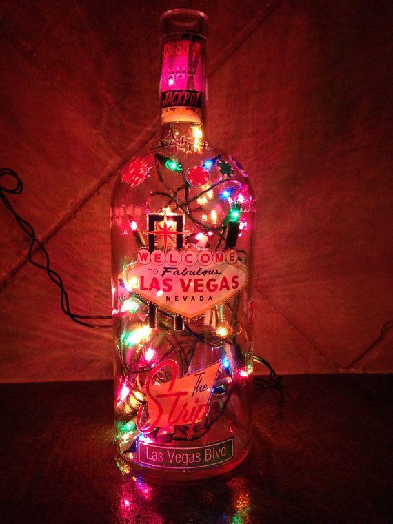 Las Vegas Themed Lighted Bottle by DonnasBottleUtopia on Etsy, $22.00