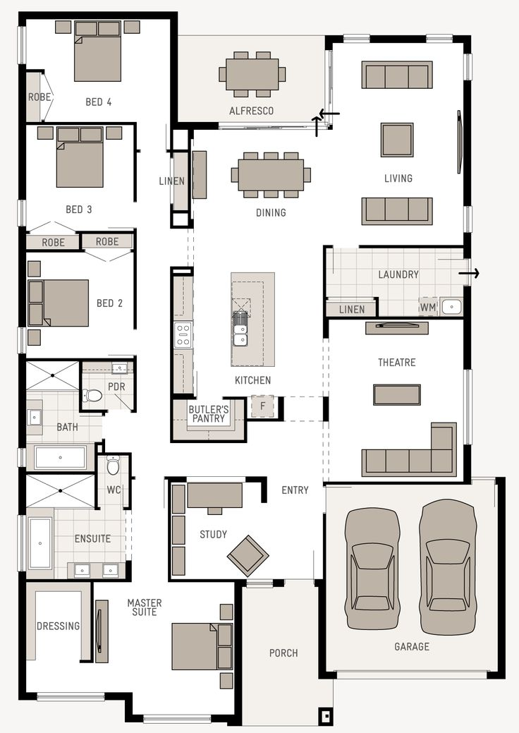 1000 ideas about narrow lot house plans on pinterest house plans floor plans and craftsman - L shaped house plans for narrow lots ...