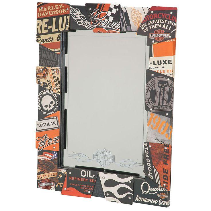 Harley-Davidson Sign Collage Framed Mirror | Home Bar Decor | RetroPlanet.com