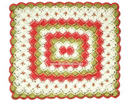 Tutorial: manta o cobija tejida en bavarian crochet con rosas rococó!
