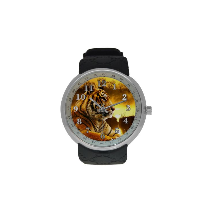 Tiger and Sunset Mens Resin Strap Watch. FREE Shipping. #artsadd #watches #tigers