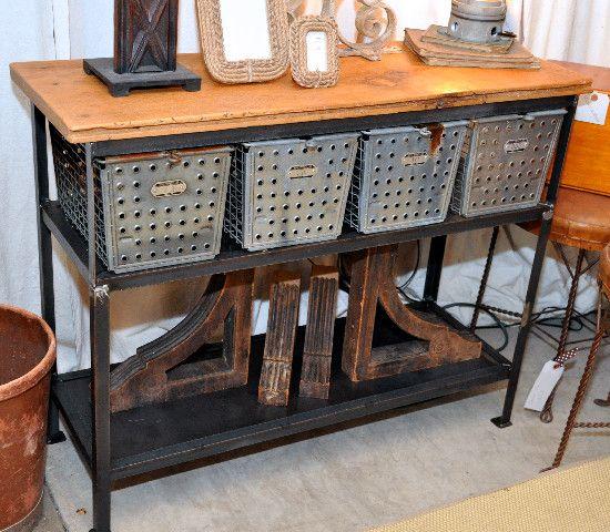 Locker Basket Console Table