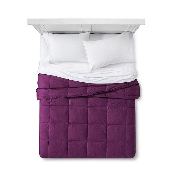 Down Alternative Bafflebox Comforter (720 GTQ) ❤ liked on Polyvore featuring home, bed & bath, bedding, comforters, purple, king comforter, synthetic down comforter, king size comforters, colored down comforters and purple king size bedding