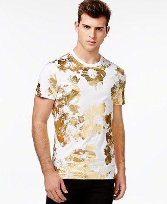 Versace Jeans Gold-Foil Floral-Print T-Shirt - T-Shirts - Men - Macy's