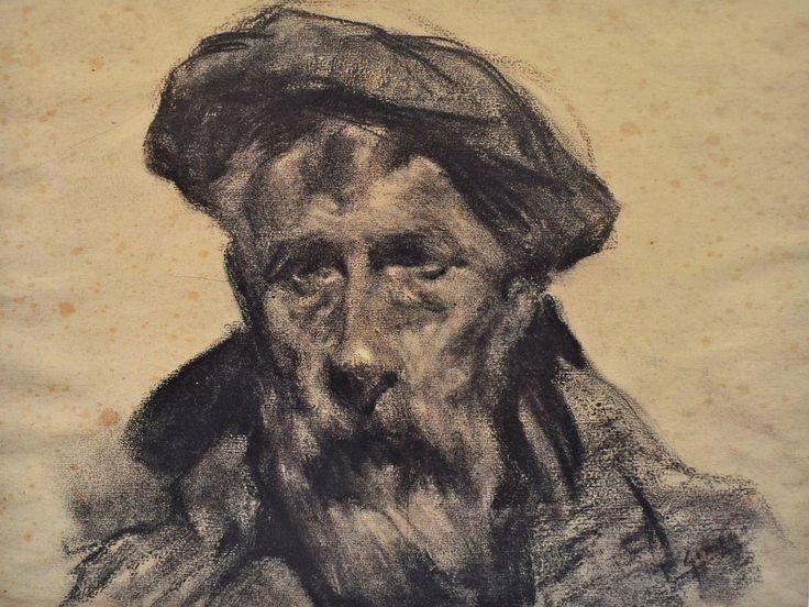 Francesc Gimeno, Autorretrato con boina (33 x 41 cm). Carbón sobre papel. Colección particular, Sabadell.