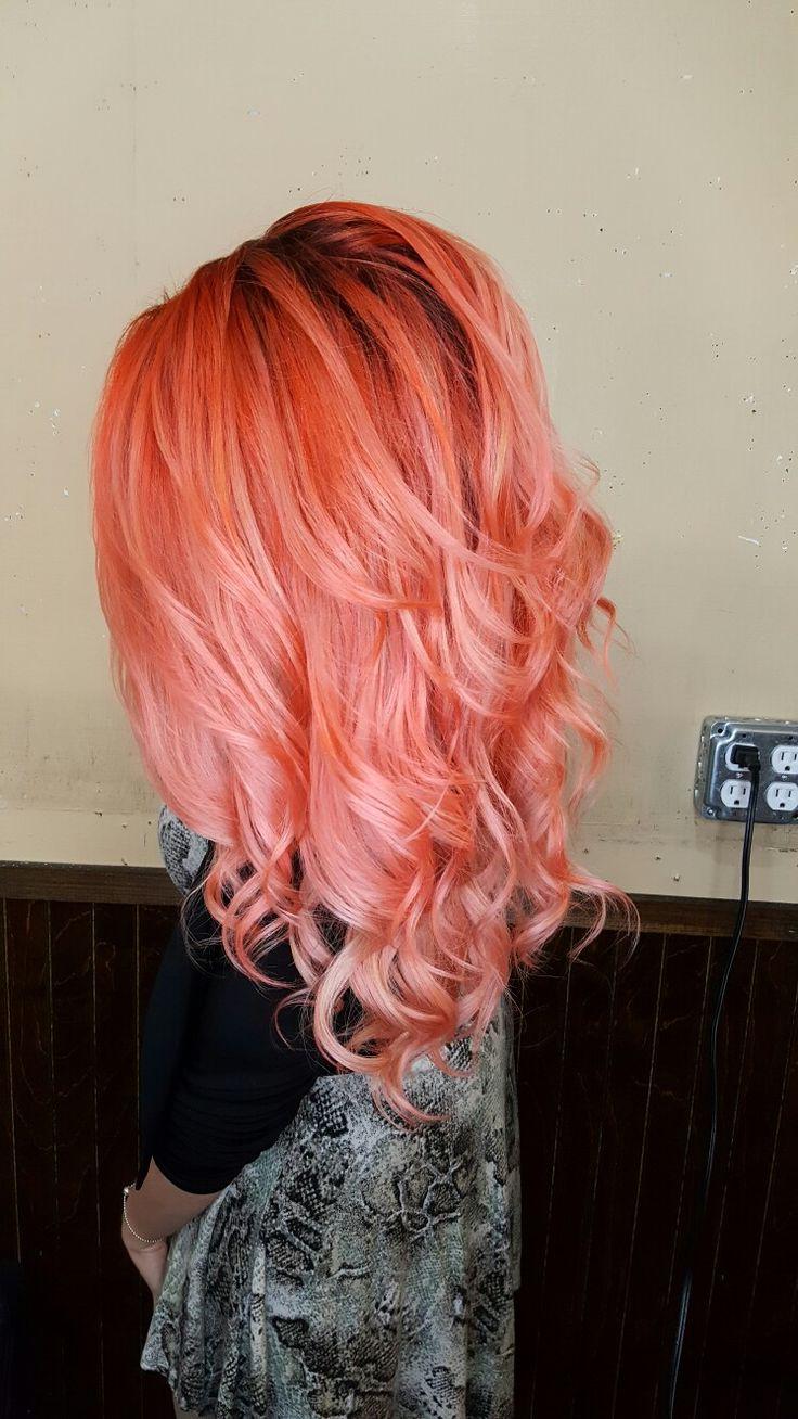 Peach,  coral vivid haircolor.  Pravana vivids.