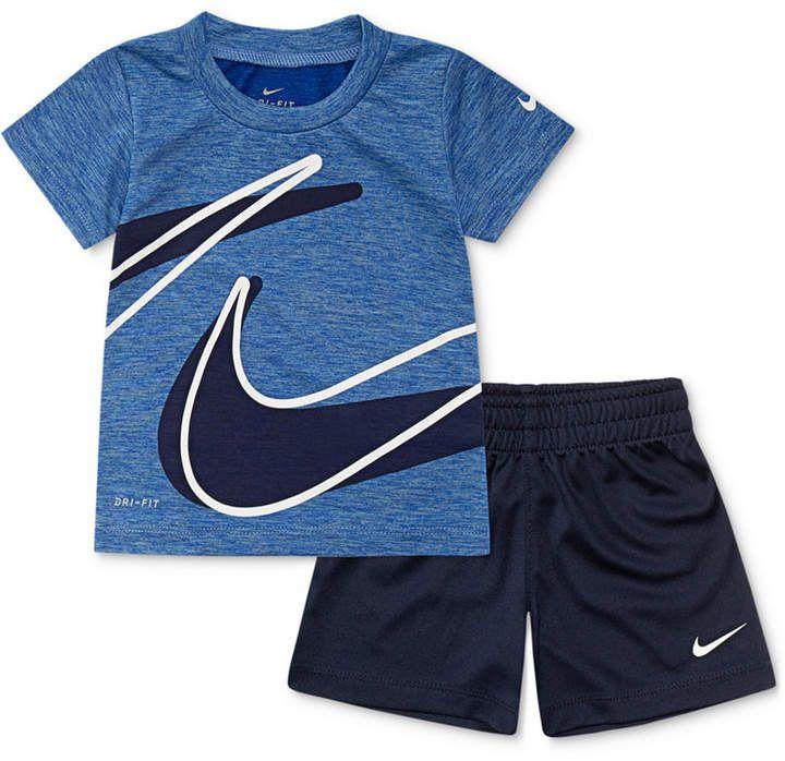 Nike Baby Boys 2 Pc Dri Fit Swoosh T Shirt Shorts Set Kids Outfits Boy Outfits Baby Boy Outfits