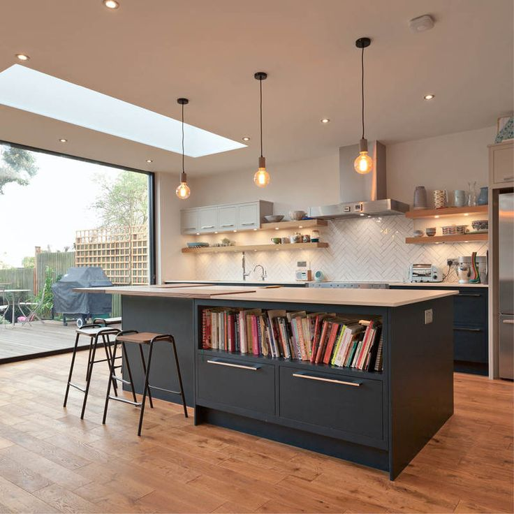 Perfect family kitchen extension by www.methodstudio.london #kitchen extension #slidingdoors #rooflights #pendantlighting #kitchenisland