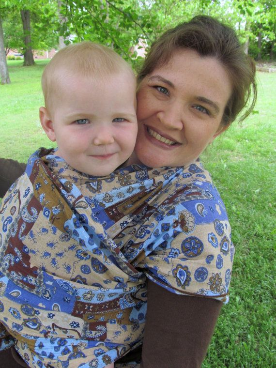 Gauze Baby Wrap Carrier  Periwinkle chocolate by lilpeeperkeepers