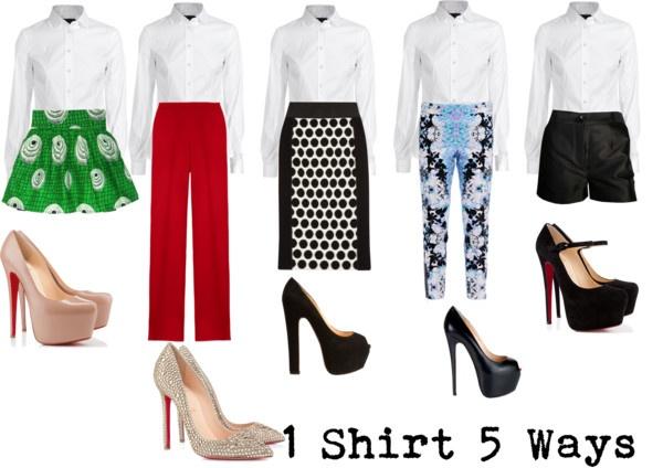 """1 Shirt,5 ways"" by stylefanclub on PolyvoreShirts 5"