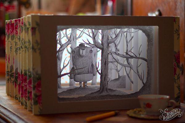 Февраля, открытка книжка тоннель