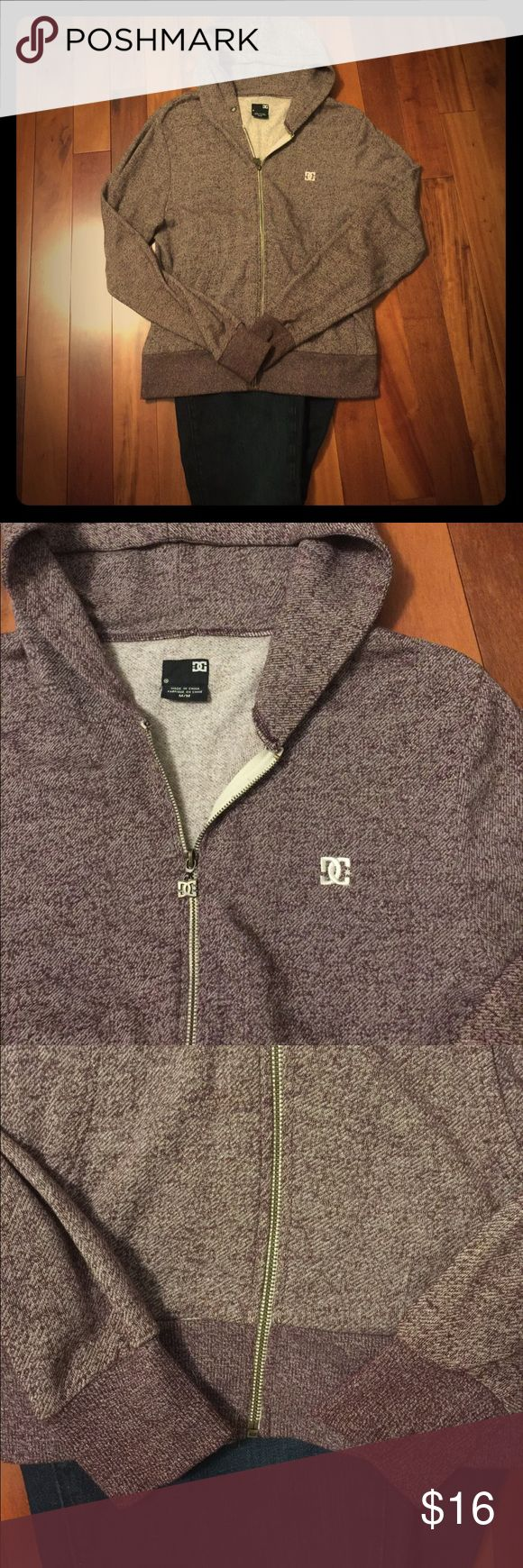 DC Skate Zip Hoodie Heathered Maroon Beautiful Maroon color DC Skate Full Zip Hooded Sweatshirt!  Perfect color for fall!  Excellent used condition, Adult Size M, very loose fit.  Get this cozy piece for yourself today! DC Tops Sweatshirts & Hoodies
