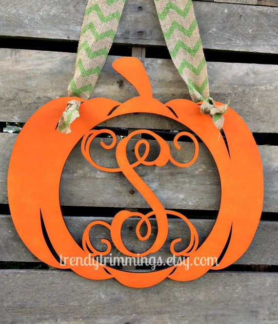 Pumpkin with Wooden Monogram Letter by TrendyTrimmings on Etsy, $25.00