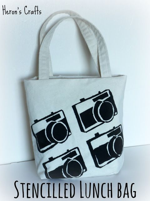 Heron's Crafts: Freezer Paper Stencilled Camera Lunchbag