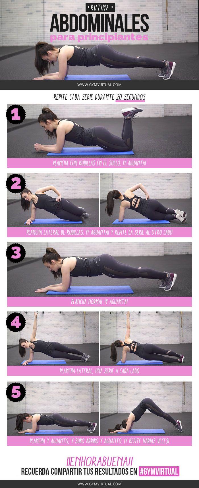 ¡Nueva rutina de abdominales para principiantes paso a paso! Empezamos haciendo una plancha con rodillas durante 20''. ¡VAMOS!