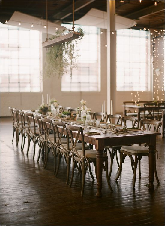 industrial warehouse reception | family style seating | string lighting ideas | #weddingchicks