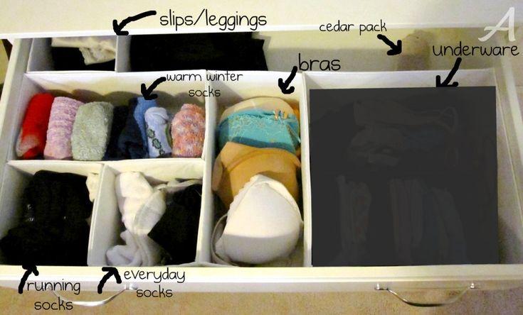 "Dresser drawer dividers. via Tatertotsandjello's ""How to Organize Your Closet & Dresser!"" entry"
