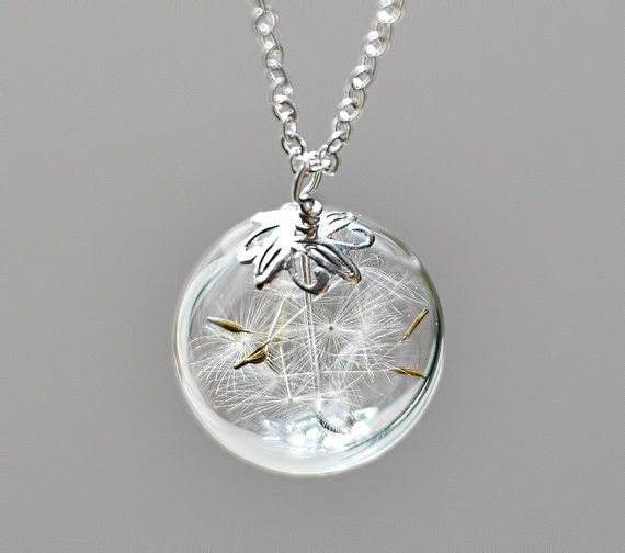 Dandelion Necklace Silver Make A Wish Glass by TheHangingGarden, $28.00