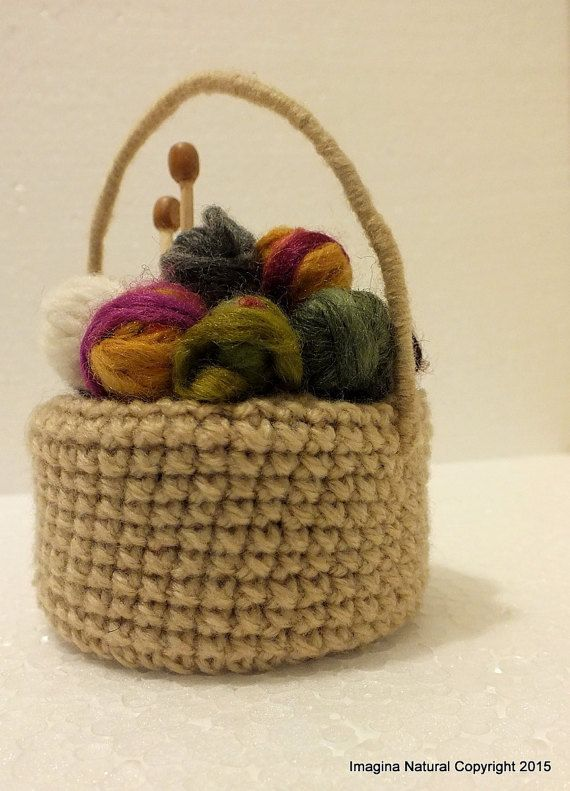 Cute Mini Yarn Basket with tiny Needles Knitted by ImaginaNatural