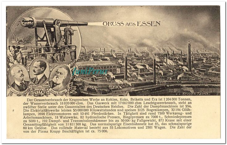 """The business of war Date:  1914-1945 Place:  Germany Description:  The big gun (pictured on Card 115) """"Big Bertha,"""" was a top-of-the-line weapon of the arsenal produced by the Krupp munitions-works at Essen. """"Greetings from Essen"""" are shot from one of Krupp's guns over a bird's-eye view of the busy and extensive factory works on Card 116. The portraits of three generations of the firm's leadership appear above a list of remarkable production statistics. The road to war did not start in…"""