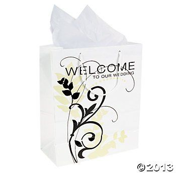 "'Welcome to Our Wedding' Gift Bags (12 Count)TREAT BAGS/Gift Bags/Reception/Table Setting/9"" Tall"