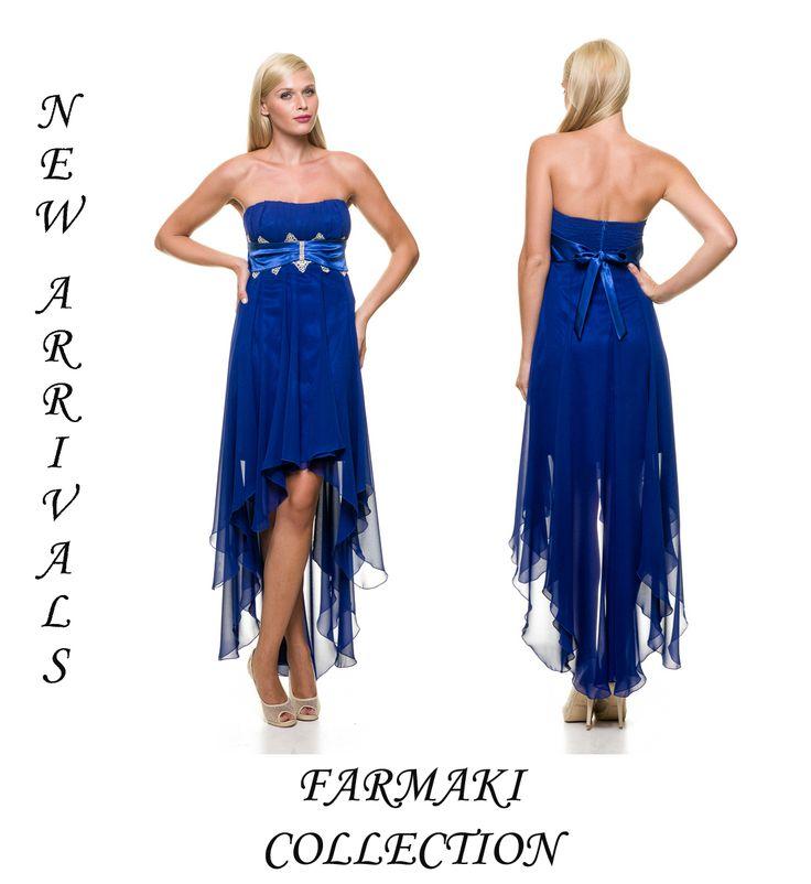 Φόρεμα ασύμετρο κοντό μπροστά, μακρύ πίσω, στράπλες ή με ράντες, δαντέλα κάτω από το στήθος. Ύφασμα μουσελίνα.