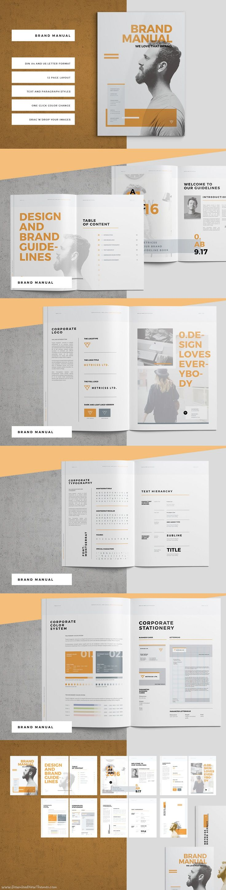 Stunning Brand Manual and Corporate Design Guideline Template #Brochures #Indesign #Graphics download now➩ https://creativemarket.com/Egotype/904862-Brand-Manual?u=Datasata