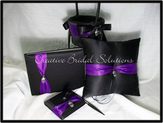 black and purple gothic wedding ring pillow flower girl basket guest book and pen