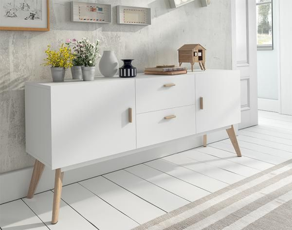 Contemporary White Sideboard With Oak Legs 2 Door And 2 Drawers